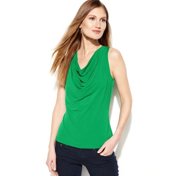 4ba24e61025ce1 Calvin Klein Tops | Nwt Green Cowl Neck Sleeveless Top | Poshmark